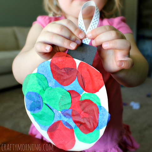 Paper Plate Tissue Paper Ornament Craft For Kids