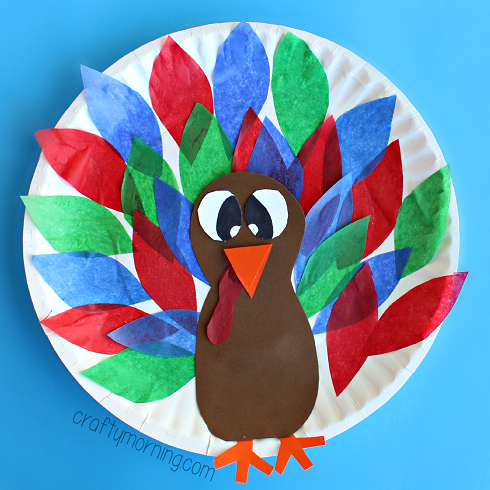 Glue To Paper Plate Turkey Craft