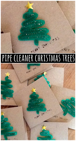 pipe cleaner christmas tree craft for cards - Pipe Cleaner Christmas Tree