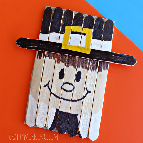 pilgrim craft ideas popsicle stick pilgrim craft for thanksgiving crafty morning 2678