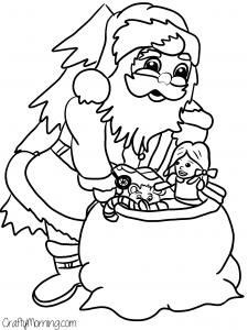 santa clause toy bag coloring page