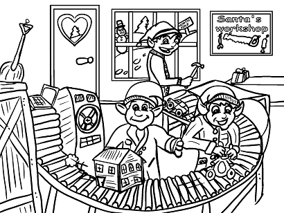 Santas Workshop Elves Toys Coloring Page