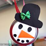 Snowman Mason Jar Lid Ornament for Kids to Make