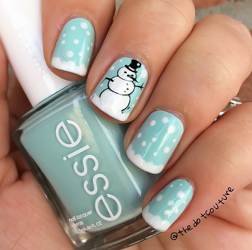 snowman-winter-nail-designs - Cute Winter And Christmas Nail Ideas - Crafty Morning