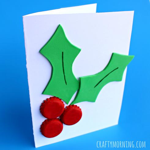 Bottle Cap Holly Craft (Christmas Card) - Crafty Morning