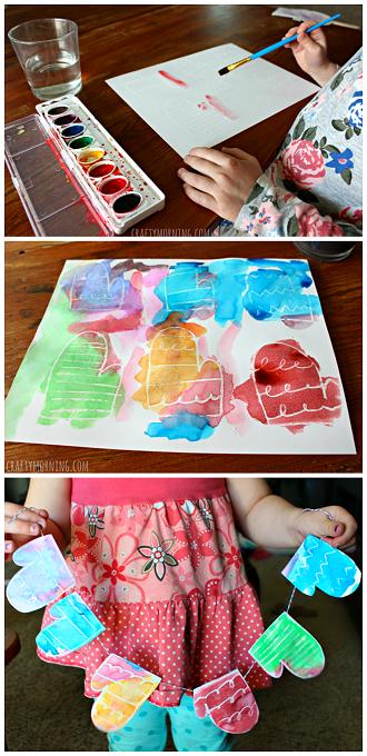 crayon-resist-mittens-garland-craft-for-kids
