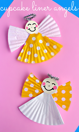 cupcake liner angel craft for kids   crafty morning