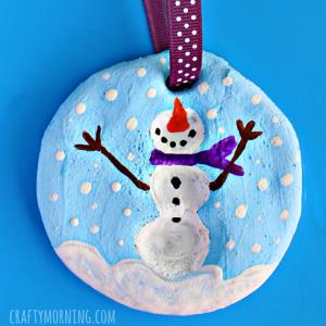 Fingerprint Snowman Salt Dough Christmas Ornament