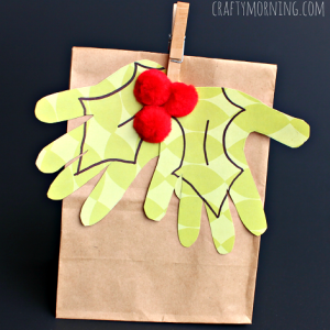 Kid's Handprint Holly Mistletoe Gift Bag Idea