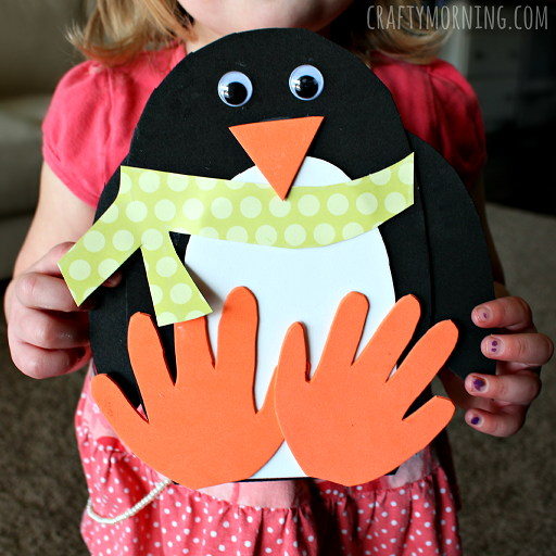 Handprint penguin craft for kids to make crafty morning for Winter crafts for children