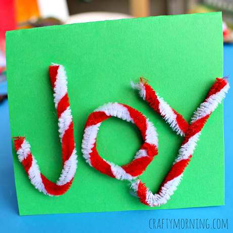 joy pipe cleaner christmas card for kids to