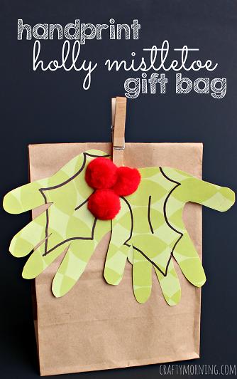 kids-handprint-holly-mistletoe-christmas-gift-bag-craft