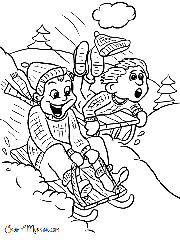 kids sledding down hill winter coloring page