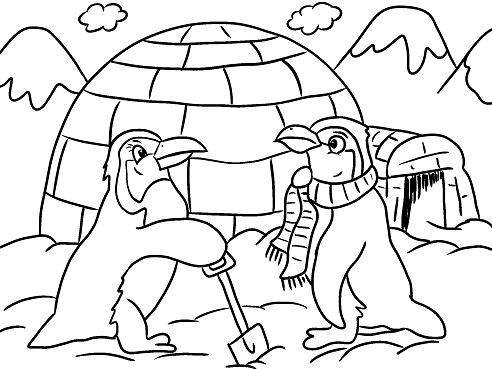 Penguins Igloo Winter Coloring Page