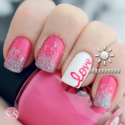 Pink Love Sparkle Valentines Day Nails