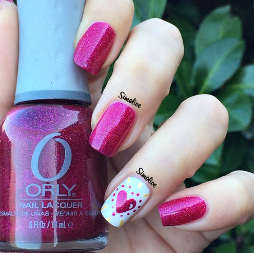 pink-valentines-day-nail-design - Adorable Valentine's Day Nail Ideas - Crafty Morning