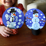 Pom-Pom Painted Cardboard Snow Globe Craft