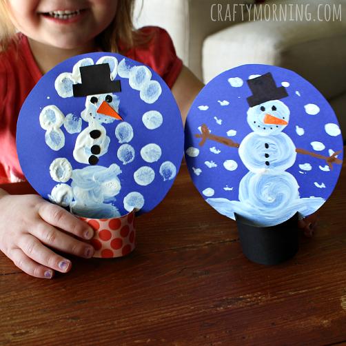 Pom-Pom Painted Cardboard Snow Globe Craft