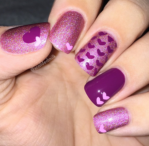 Purple Valentines Day Heart Nails
