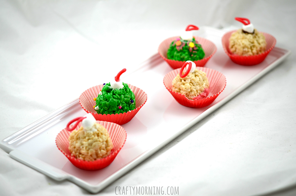 rice krispie christmas ornament treat