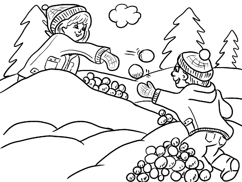 Snowball fight kids free winter coloring page