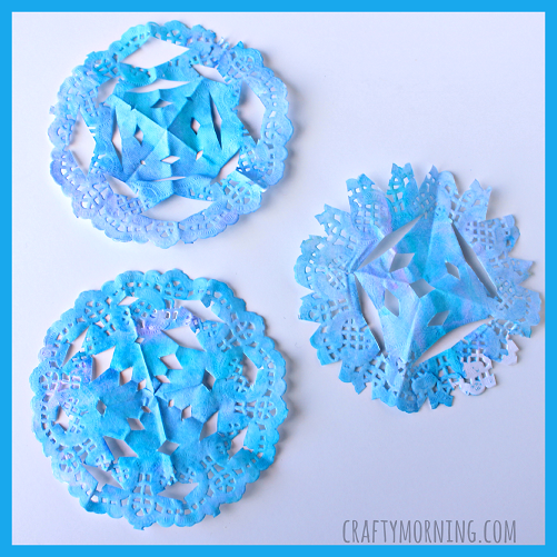 Watercolor Doily Snowflakes (Kids Craft)