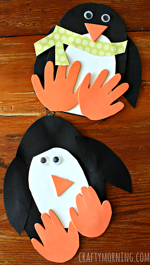 Handprint penguin craft for kids to make crafty morning for How to make winter crafts
