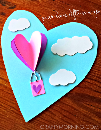 3D Heart Hot Air Balloon Valentine Card Crafty Morning – Valentine Card Image