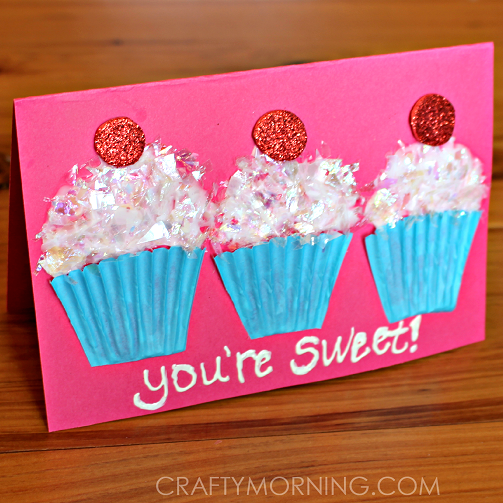 Cupcake Liner Valentines Day Card Idea Crafty Morning – Valentines Card Ideas for Kids
