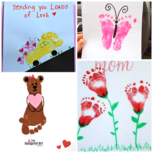 Cute footprint valentine 39 s day crafts for kids crafty for Toddler valentine craft ideas