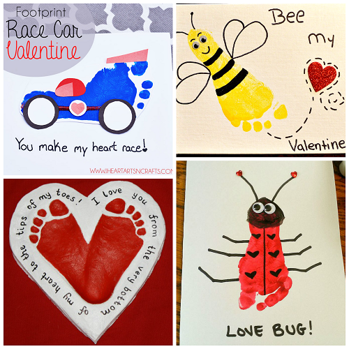 Cute Footprint Valentines Day Crafts for Kids Crafty Morning – Bee My Valentine Card