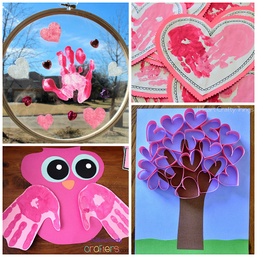 Valentine 39 s day handprint craft card ideas crafty morning for Valentines day toddler crafts