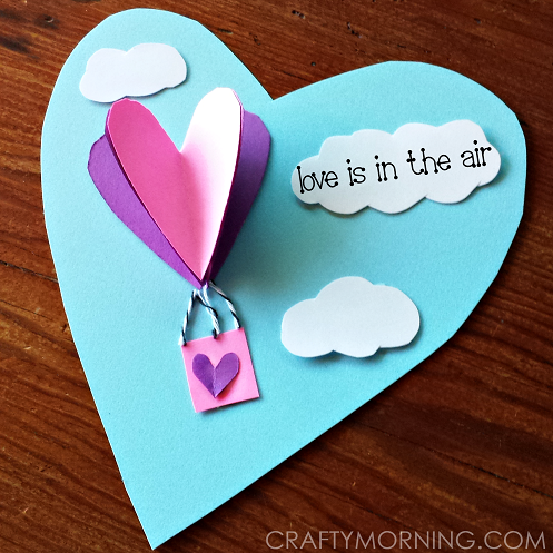 3d heart hot air balloon valentine card crafty morning for Valentine craft projects kids