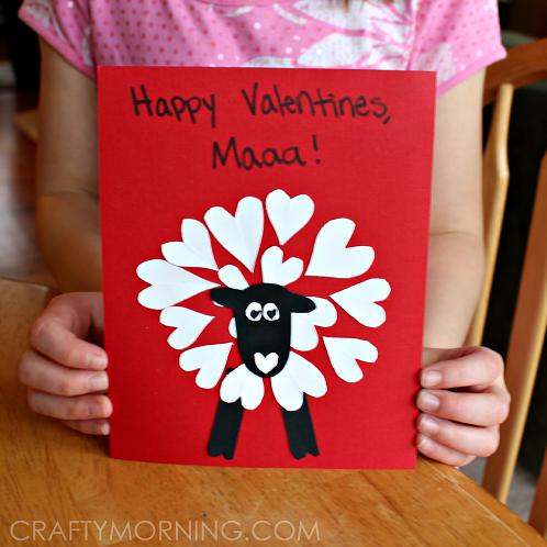 Heart Valentine Sheep Craft For Kids