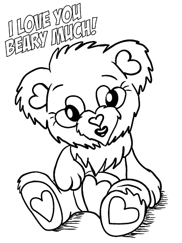 I love you beary much coloring page a fuzzy little teddy bear