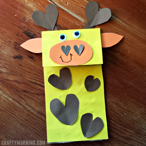 Paper Bag Giraffe Puppet Craft Crafty Morning