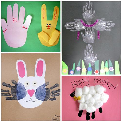 Easter handprint and fingerprint crafts for kids crafty for Easter craft for preschool