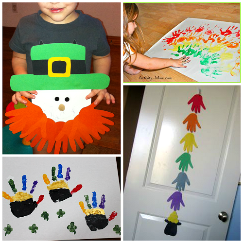 St Patricks Day Footprint Handprint Crafts For Kids Crafty Morning