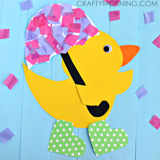 Duck Rainy Day Boots Umbrella Spring Craft For