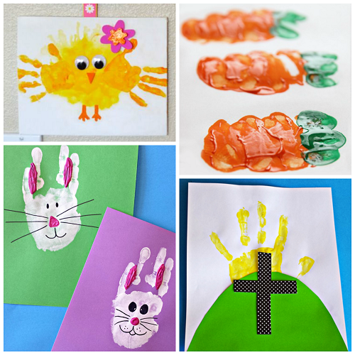 Easter handprint and fingerprint crafts for kids crafty