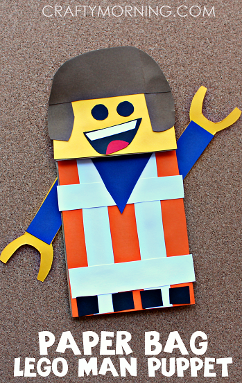 Paper bag lego man puppet craft for kids crafty morning for Lego crafts for kids