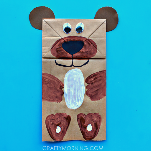 Paper bag bear puppet kids can make crafty morning for Brown paper bag crafts for preschoolers