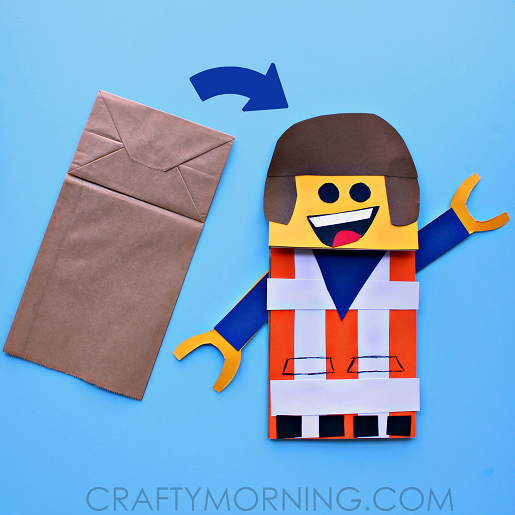 Paper Bag Lego Man Puppet Craft For Kids Crafty Morning