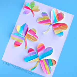 Watercolor Rainbow 3 Leaf Clover Craft