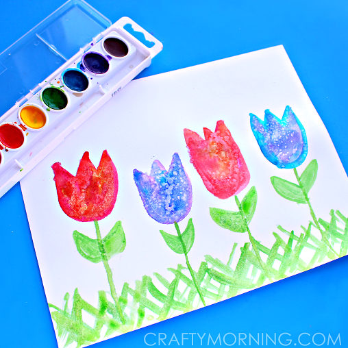 salt art for kids spring tulips - Spring Pictures For Kids