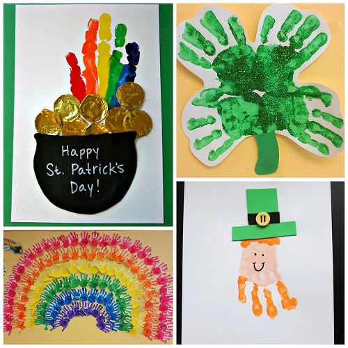 st patrick s day footprint handprint crafts for kids crafty morning