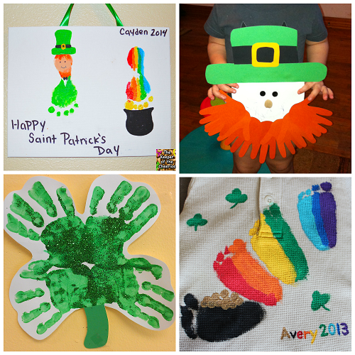 St Patricks Day Footprint Handprint Crafts For Kids Crafty Morning