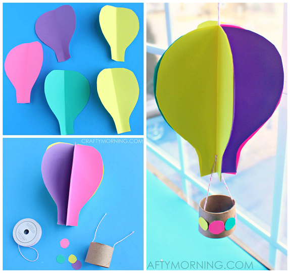 hot air balloon craft ideas spinning 3d air balloon craft for to make 6742