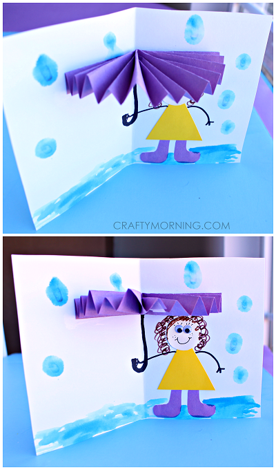 3d umbrella rainy day card for kids to make   crafty morning
