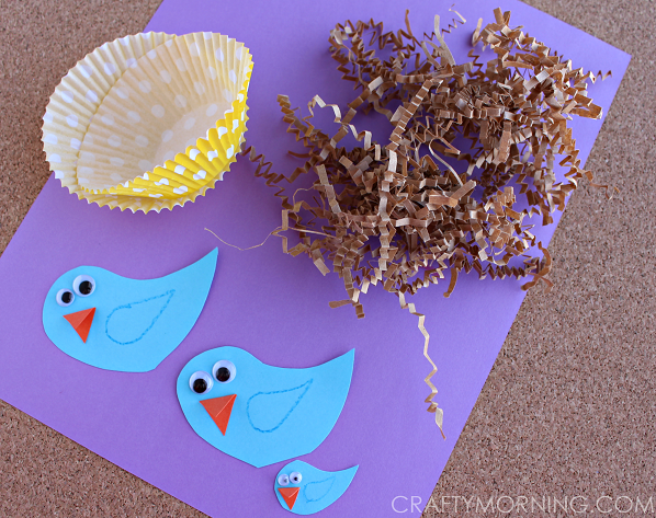 Blue Bird Craft With Cupcake Liner Nests Crafty Morning